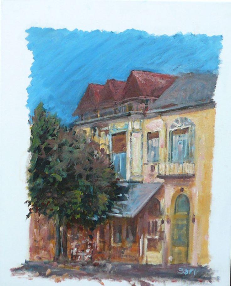 Tünde presszó  Tünde Coffeehouse  Tünde Cafe  50 x 40 cm oil on canvas