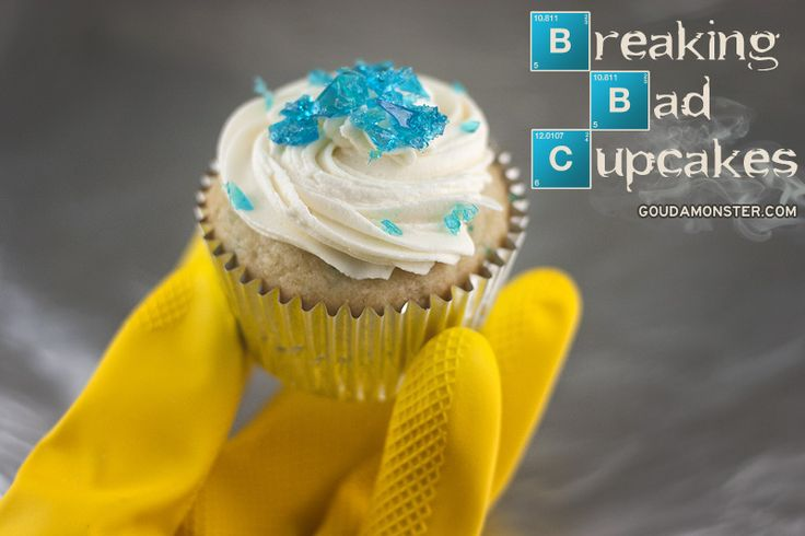 "Getting ready for the Breaking Bad season finale this weekend with some ""blue meth"" topped cupcakes! Vanilla cake flecked with blue on top of a sugar cookie crust with vanilla amaretto buttercream and sugar glass rocks (OR ARE THEY MINERALS?). Recipe here: http://www.goudamonster.com/2013/09/breaking-bad-blue-meth-cupcakes/"
