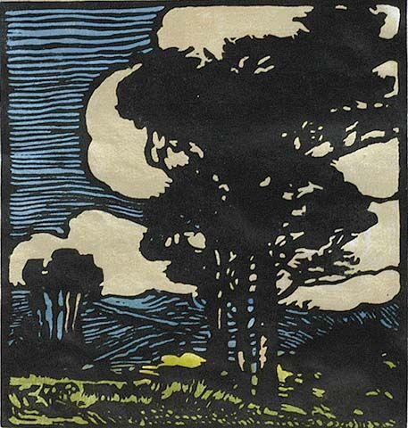 Windswept - William S. Rice - c. 1920, block print