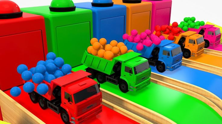 Colors For Children To Learn With Dump Truck Toys #h Colours Water Slide...
