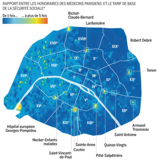 Le Monde s'essaye au Data Journalisme avec cette infographie tirée de son enquête sur les dépassements d'honoraires des médecins à Paris. Une infographie bâtie à partir des données publiques présentes sur le site de l'assurance maladie.