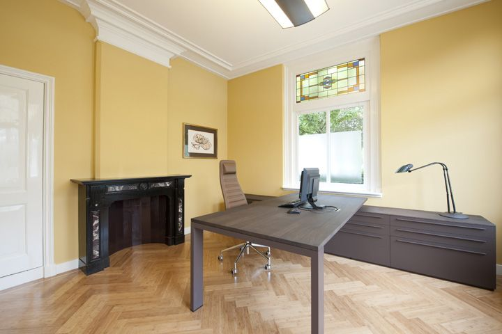 Farrow and Ball print room yellow, Arco desk