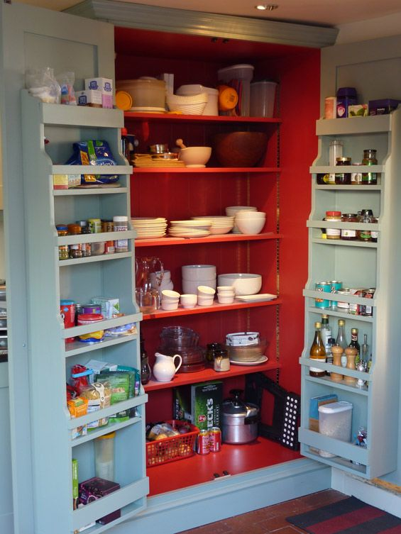 Please may I have one of these in my kitchen !! Interior of handmade kitchen larder cupboard showing door racks by Peter Henderson.
