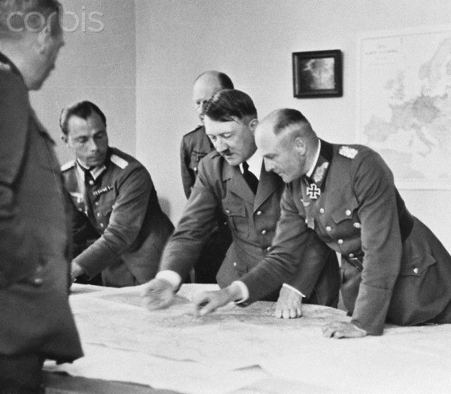 Berlin, 22 July 1940: Adolf Hitler examines a map with ...