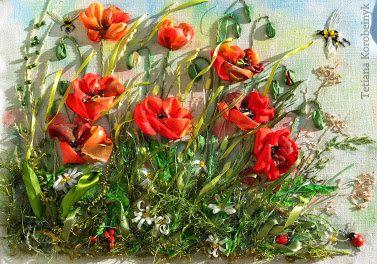 Ricamo  fiori di campo   Silk ribbon embroidery