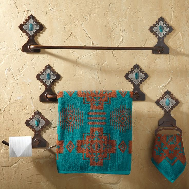 Lodge Decor-Rustic Cabin Decor-Southwestern Home Decor-Log Cabin Decor-Antler Lighting - Hacienda Towel Bars