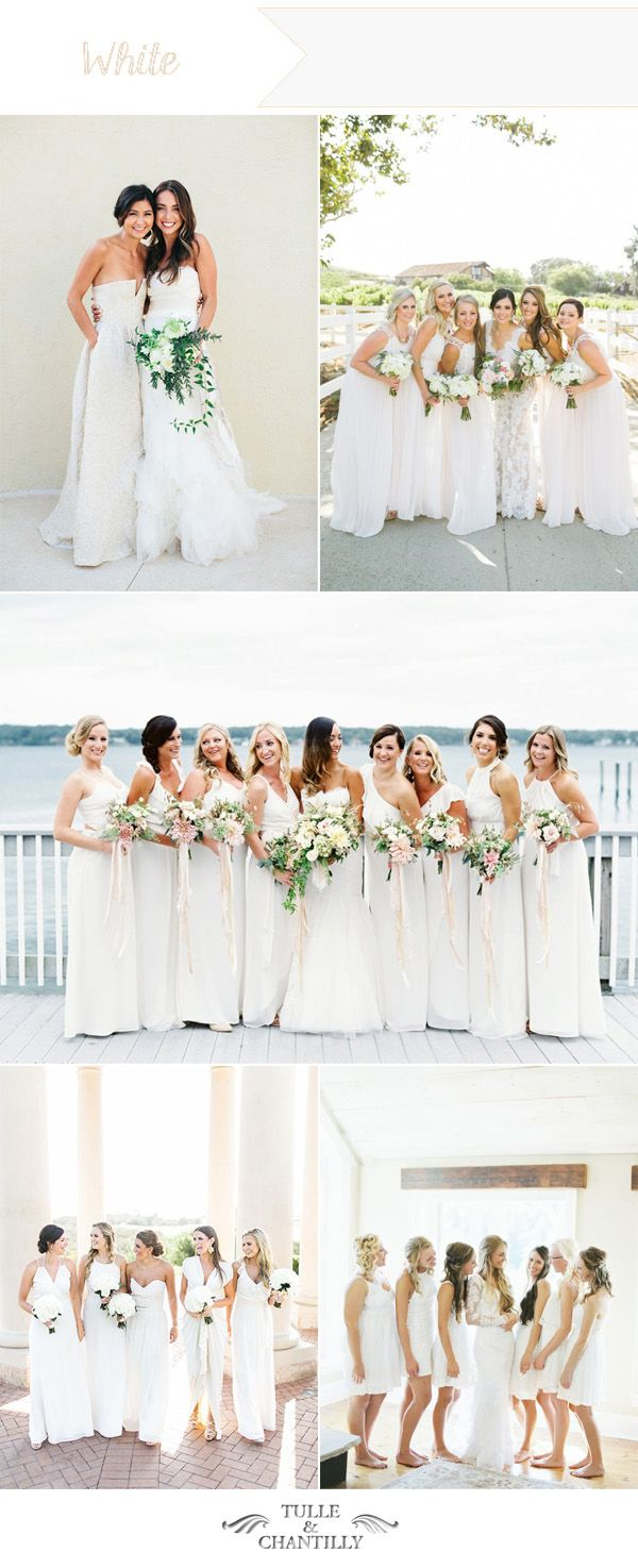 summery white wedding ideas for bridesmaid dresses