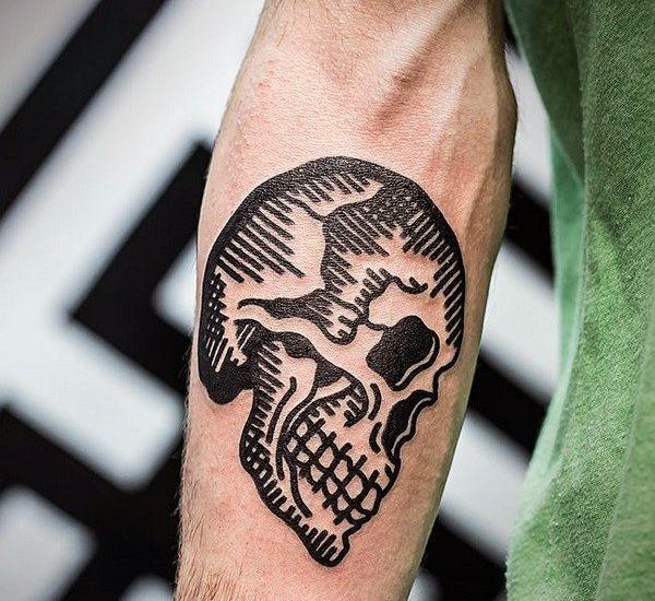 Woodcut Guys Traditional Inner Forearm Black Ink Skull Tattoos Eye