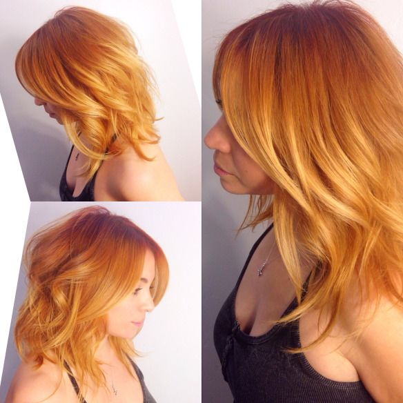 Peach perfection, strawberry blonde, copper hair, orange hair, red hair.  color correction previously a ldark brown.  Applied a Level 6/7       copper/ red at root only  then painted lightener 1 inch of root to ends. Ends were placed  in foil for maximum lightness. Rinsed then applied a level 7 gold/ copper  gloss/ shine for 10min.