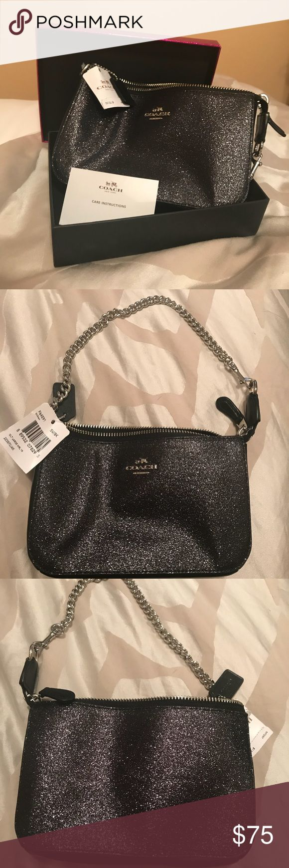 BRAND NEW Small Coach Purse 7.5in x 4.5in x 2in glittery black coach purse with chain strap. Never used!! Comes with original box, tags attached, and care instruction card. Inside has two sections, and 2 credit card slots. Top zips shut Coach Bags
