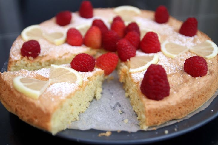 Summertime Raspberry Lemon Almond Cake [Gluten Free] Recipe Desserts with almond flour, baking powder, white vinegar, salt, fresh lemon, lemon juice, vanilla, eggs, ground cardamom, white sugar, powdered sugar, raspberries