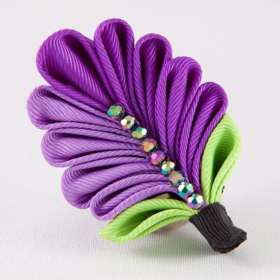 Purple Hair Clip Brooch Kanzashi Flower by DesignsInBlooms on Etsy