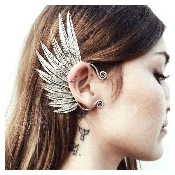 Pegasus Ear Cuff ❤ liked on Polyvore featuring jewelry, earrings, ear cuff jewelry, ear cuff earrings, feather ear cuff, feather earrings and feather jewelry