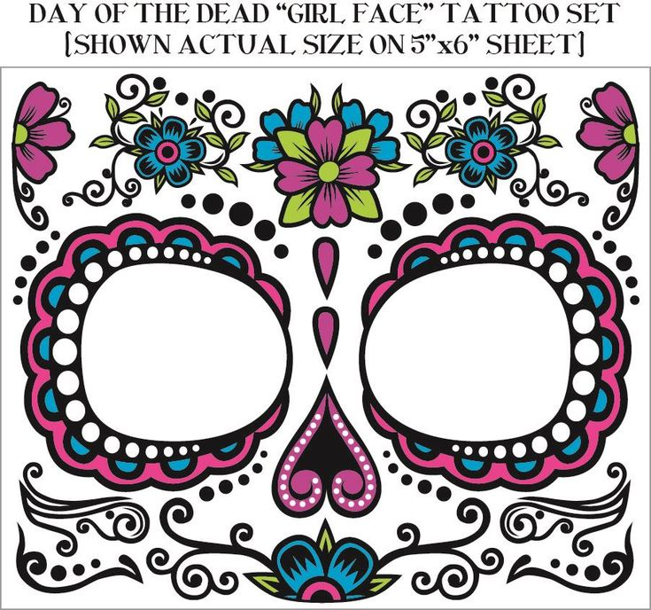 Details about Day of the Dead Temporary Face Tattoo Temporary Dios de ...