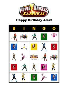 Power Rangers Birthday Party Bingo Card Game Delivered by Email