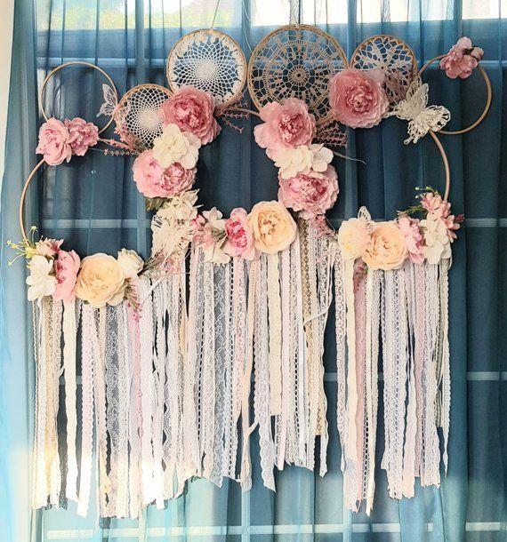 Large Dreamcatcher Wedding Decoration Floral Decor Dreamcatcher Shabby Chic Pink Dreamcatcher Pink Decor Lace Dreamcatcher Vintage Flower Garland Wedding Christmas Swags Large Dream Catcher
