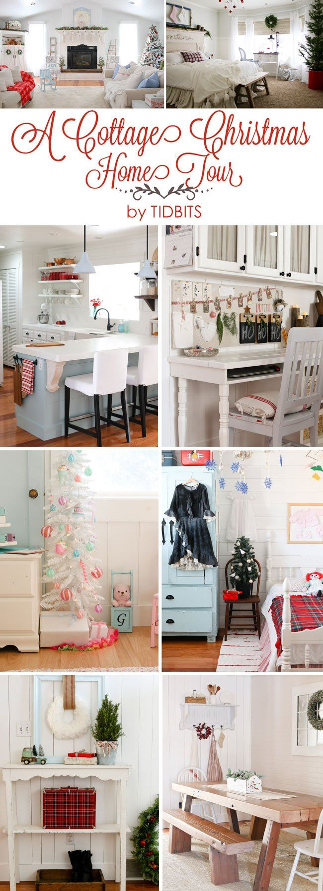 A Cottage Christmas Home Tour - Find inspiration your Christmas decorating on a budget. Home Tour part of Jeniffer Rizzo Holiday Housewalk 2015