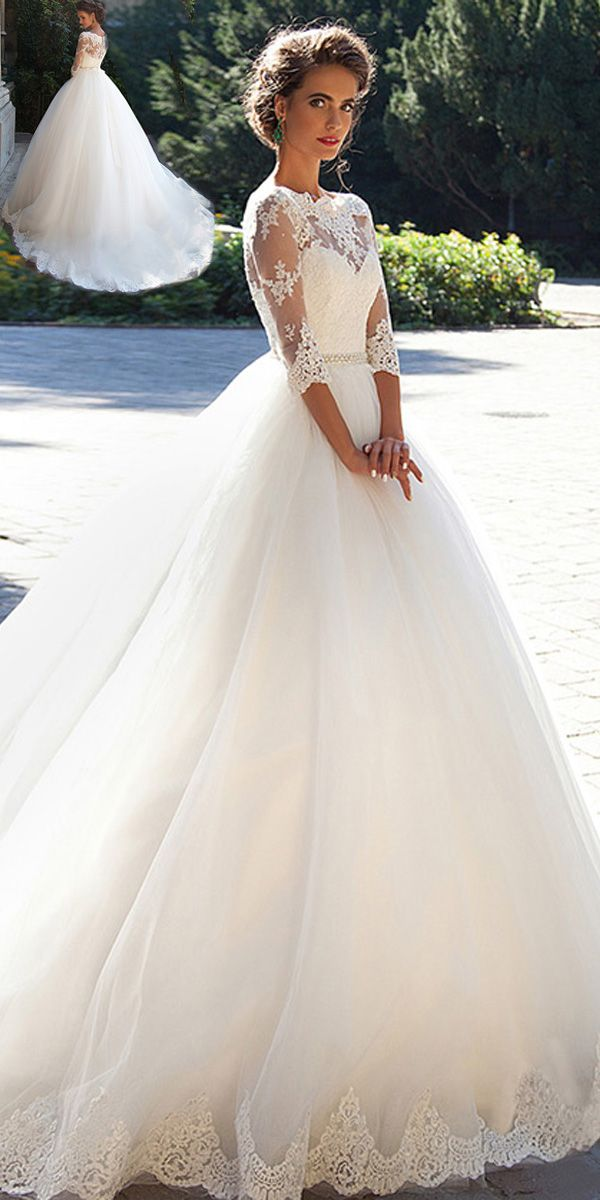 915f200193 Elegant Tulle Bateau Neckline Ball Gown Wedding Dresses With Lace Appliques