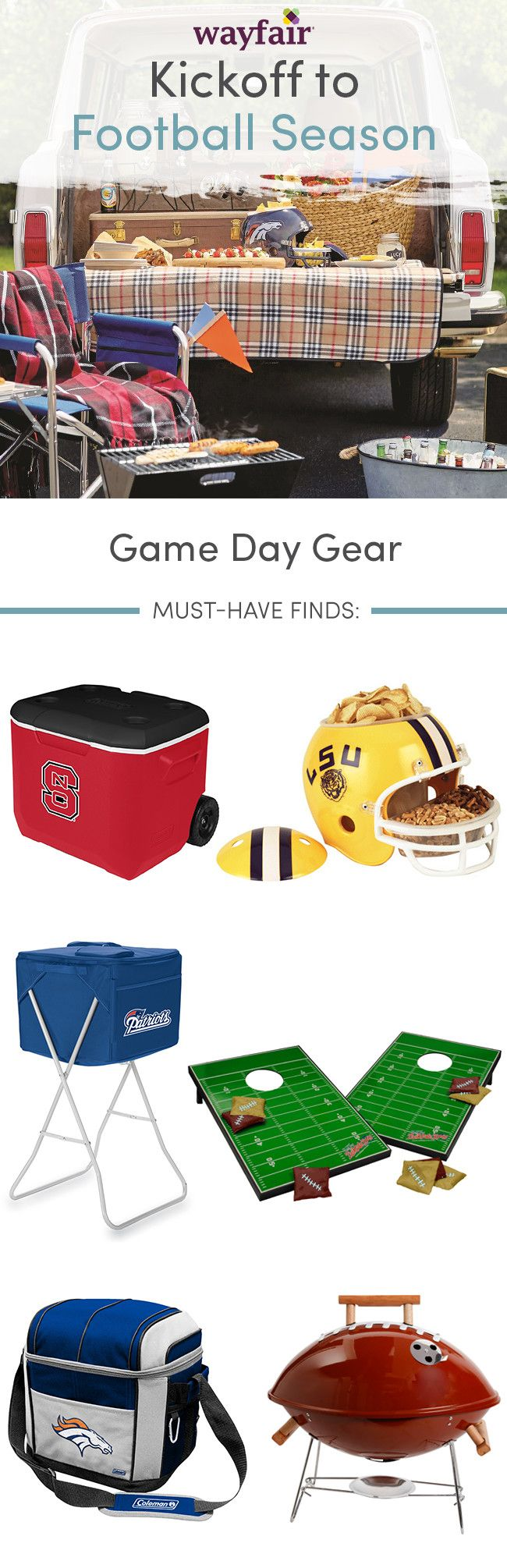 Top football season finds to help you host the best tailgate party at home! With so many game day options, cheer on your team in style. Visit Wayfair and sign up today to get access to exclusive deals everyday up to 70% off. Free shipping on all orders over $49.