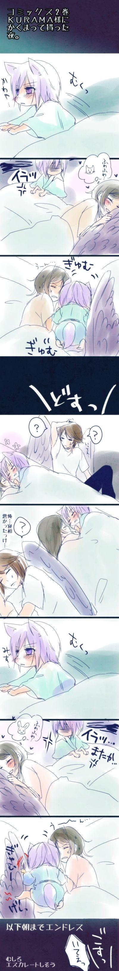 I don't understand what's written, but it looks so adorable!!! -- Anime, Kamisama Hajimemashita, Kamisama Kiss, fan art, comic, Tomoe and Nanami and Kurama, funny, fiction