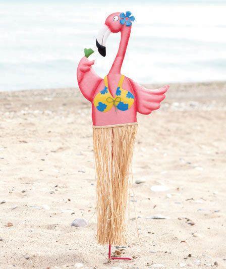 Hawaiian Hula Flamingo Garden Stake Tropical Grass Skirt Luau Yard