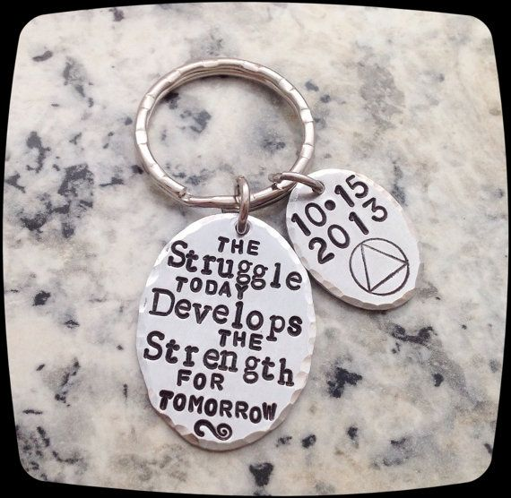 Sobriety Jewelry Gift, One day at a time, Key Ring, The struggle today,Sobriety Milestone Gift, Addiction Recovery, Sobriety Date Jewelry