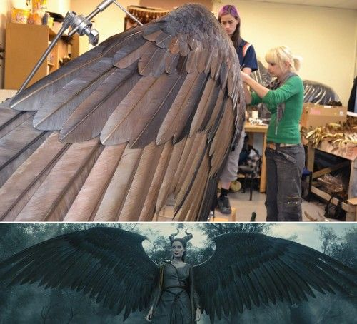 Maleficent's majestic wings may be computer-generated, but they took their inspiration from the skies, as a team of costume designers — led by Oscar nominee Anna B. Sheppard (The Pianist) — created an IRL set of feathery flappers upon which artists based their digital versions : Stingray Skin, Bird Skulls, and Other Secrets Behind the 'Maleficent' Costume. #FEATHERS #thefeatherplace