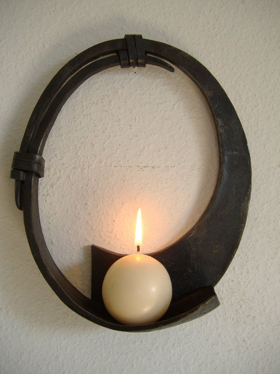 Round Candle Wall Sconce by dragonflyforge on Etsy, $245.00