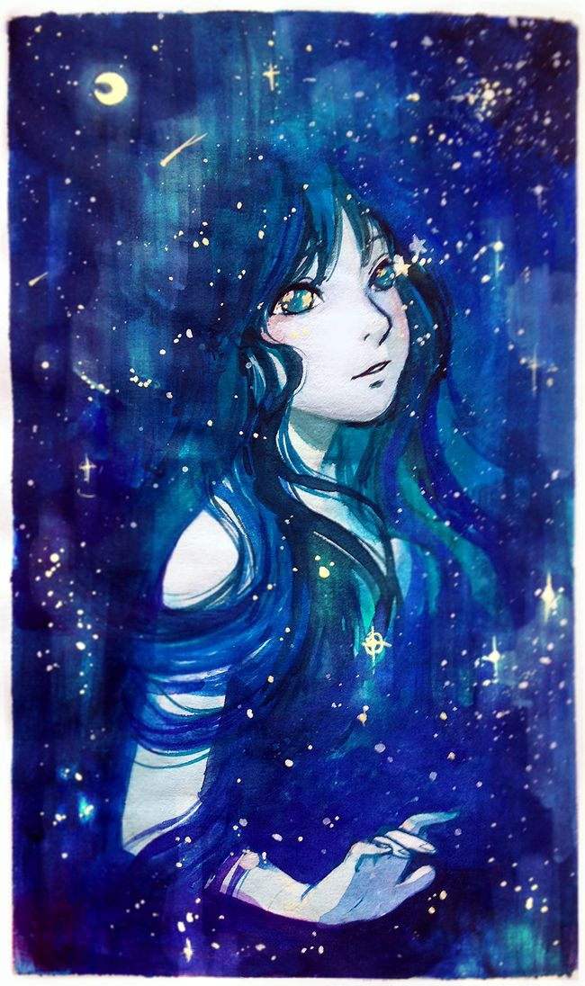 Stars born from her eyes by Qinni.deviantart.com on @DeviantArt