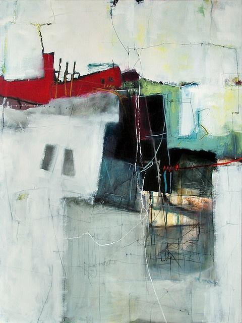 "Anne-Laure Djaballah, Adjusting, 48 x 36"", oil, acrylic, mixed media on canvas"