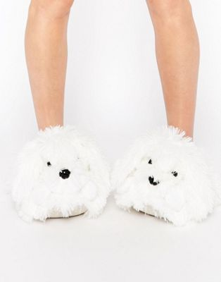 New Look - Pantoufles chien duveteux - Blanc