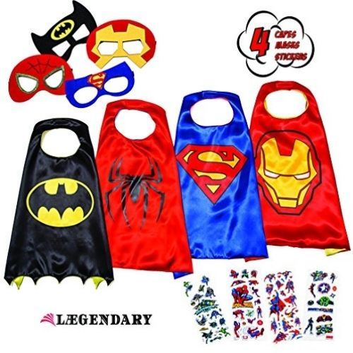 Superhero Costumes For Kids - 4 Capes And Masks - Glow In The Dark Logo #LAEGENDARY