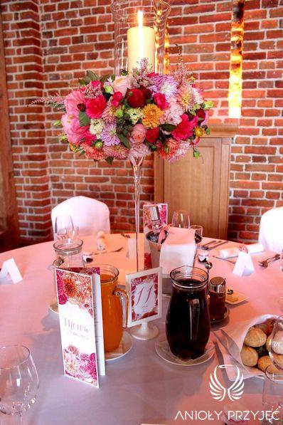 7. Fuchsia Orange Wedding, Centerpiece, Wedding stationery / Wesele fuksjowo-pomarańczowe, Dekoracje stołu, Papeteria ślubna, Anioły Przyjęć