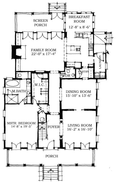 First Floor Plan of Historic   House Plan 73702