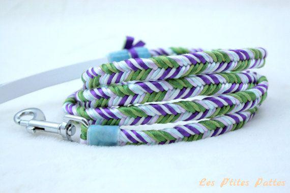 Laisse pour chien tressée vert violet blanc