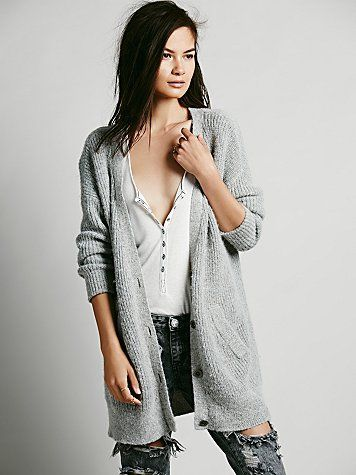 Simple long grey chunky cardigan