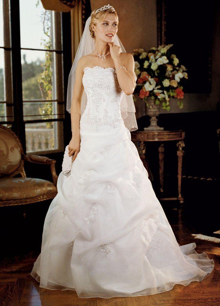 David 39 s bridal wedding dress satin corset pick up with for Wedding dress with corset top