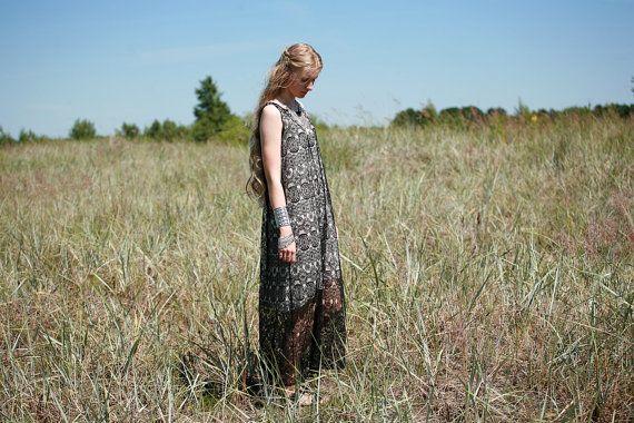 Black lace maxi dress with white slip dress; gypsy,boho