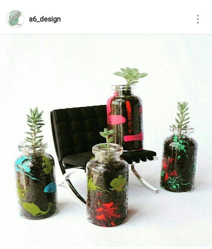 Mini frascos de vidrio para tus suculentas  Pintadas a mano