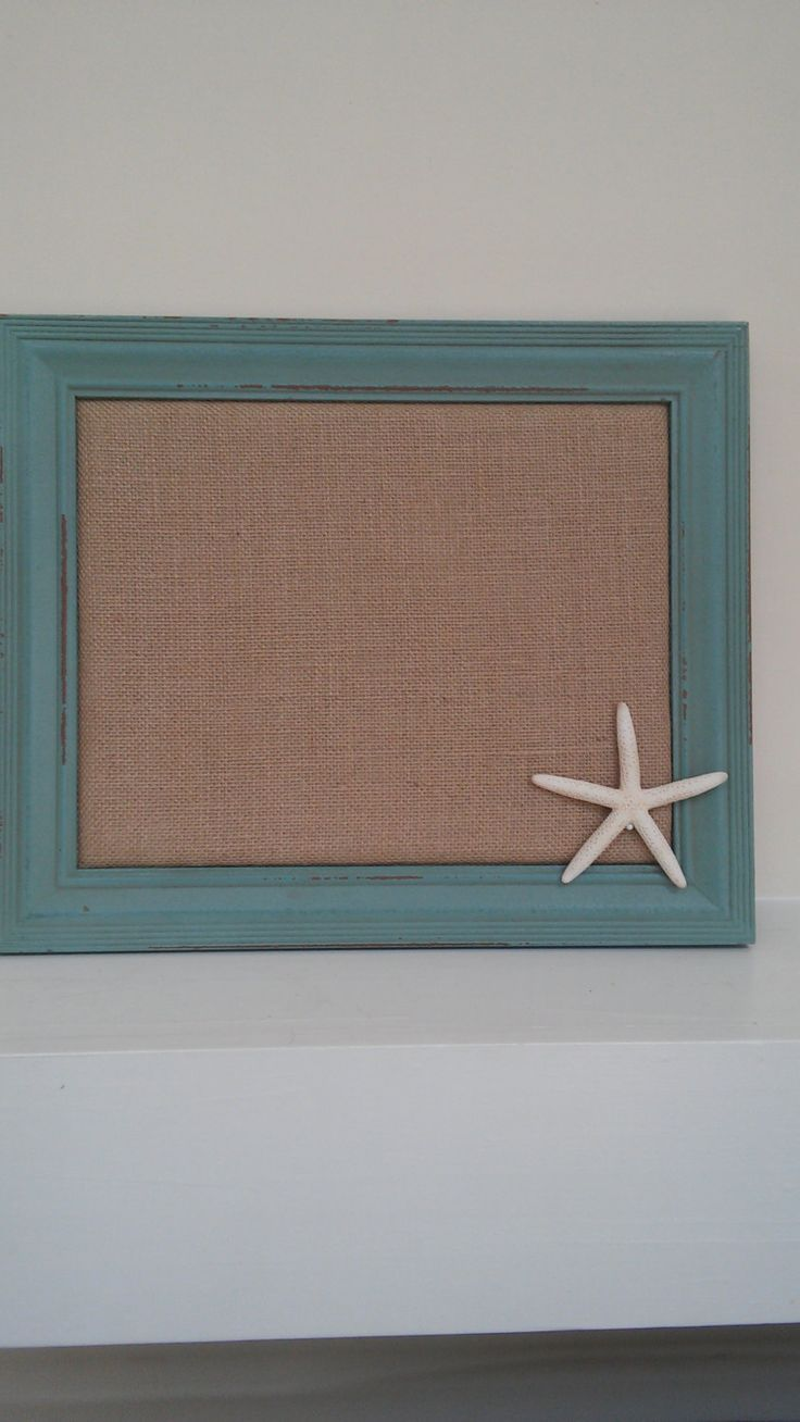 Message Board, Cork Board, Burlap Bulletin Board, Framed Cork Bulletin Board, Pin Board in Green Frame with Monogram and Starfish by ThreeLoveMonkeys on Etsy