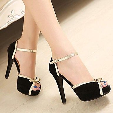 Suede Women's Stiletto Heel Peep Toe Pumps/Heels Shoes (More Colors) - USD $ 29.99