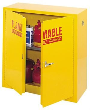 """Flammable Double Door Safety Cabinet-30 Gallon Capacity Manual Close meets NFPA, Code 30 and OSHA Standard 1910.106 FM Approved - 48""""W x 18""""D x 44""""H"""