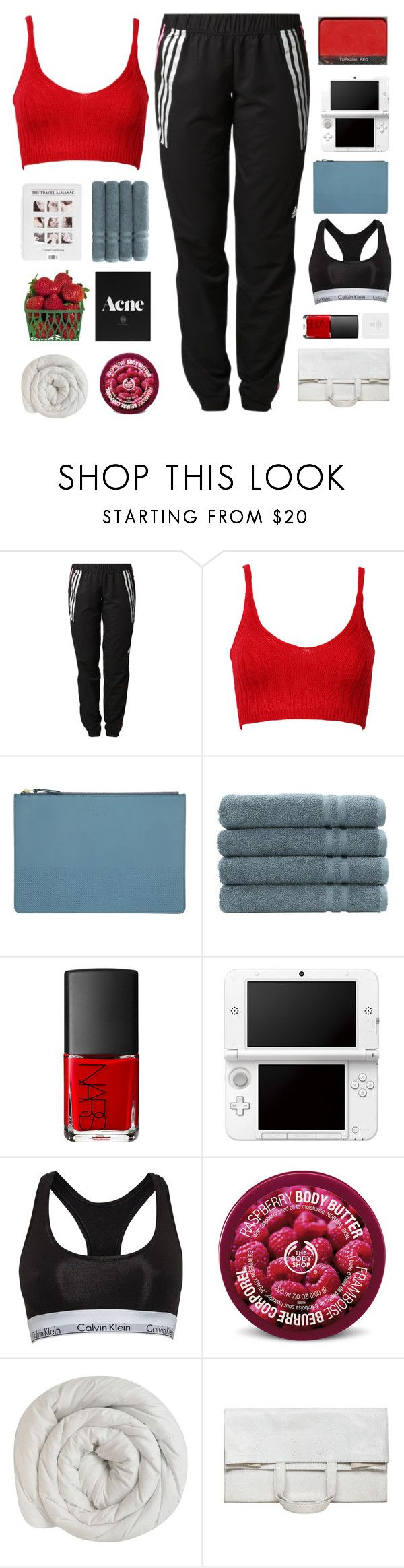 """#80"" by stellular ❤ liked on Polyvore featuring adidas, WithChic, AG Adriano Goldschmied, CÉLINE, Linum Home Textiles, NARS Cosmetics, Nintendo, Calvin Klein, The Body Shop and Maison Margiela"