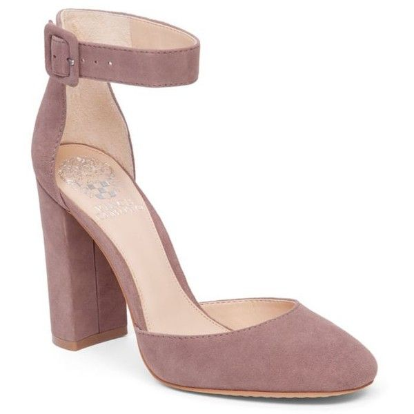 Vince Camuto Mystery Mauve Shaytel Block Heel Pump - Women's ($119) ❤ liked on Polyvore featuring shoes, pumps, mystery mauve, vince camuto footwear, ankle wrap pumps, vince camuto, ankle strap shoes and vince camuto pumps