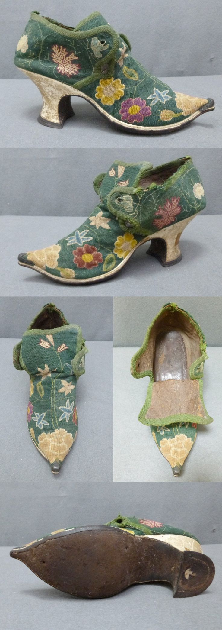Embroidered Shoe 1730's, Holland, Very fine tent stitch uppers, probably embridered by the owner. Unusual metal toe cap. finely embroidered with jonquils, roses, pinks and other flowers in crimson, ivory, yellow, pale blue on a mid green ground, the latchets with eyelet hole (for a ribbon), the slightly shaped tongue dipping in the centre, this and the edgings with applied linen braid, lined with brown cotton, the rand of ivory kid, leather straight sole, 8 1/2 in; 22 cm.