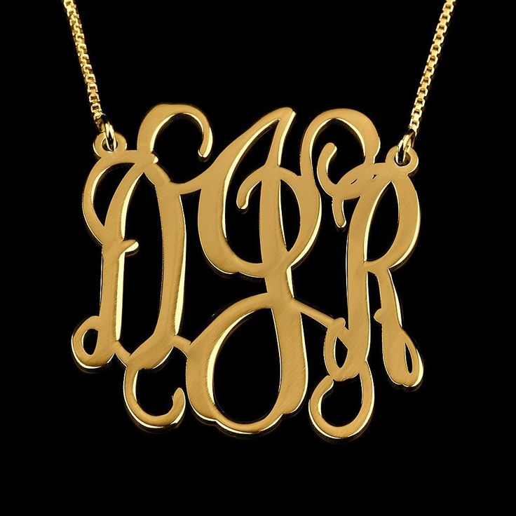 24K Gold Plated Curly Split Chain Monogram Necklace - Onecklace