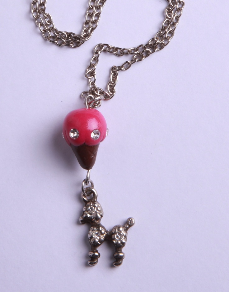 "Polymer Clay ""Cold Dog"" Necklace by milk+biscuit, $11"