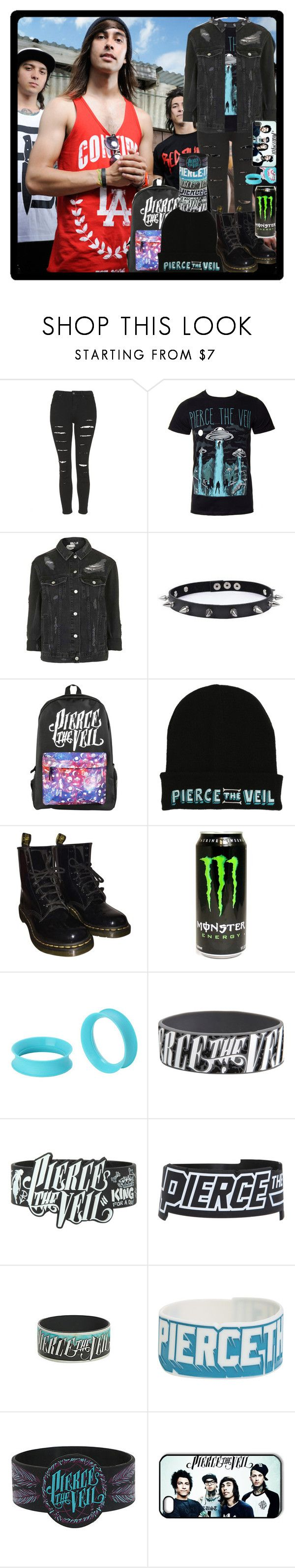 """""""PTV"""" by chemicalfallout249 ❤ liked on Polyvore featuring Topshop, Trend Cool, Hot Topic, Dr. Martens, emo, bands and alternative"""