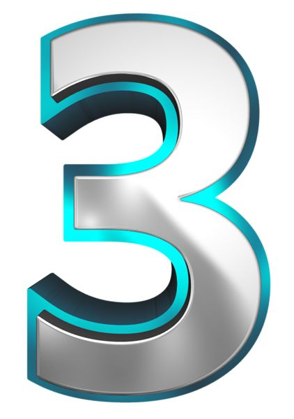 Metallic and Blue Number Three PNG Clipart Image | números ...