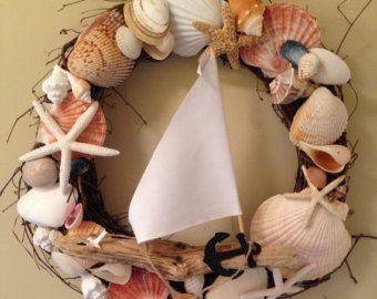 Beach decor wreath Mermaids welcome